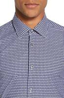 Pal Zileri Gingham Check Sport Shirt Navy Blue NWT EU 44 US 17.5