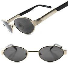 Vintage Old School Fashion Retro Silver Mens Womens Urban Round Oval Sunglasses
