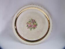Antique French Saxon China Side Plate Rose Design 22k Gold Accents Antique
