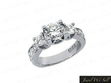 Ring 10K White Gold I Si2 Prong Real 0.5ct Round Cut Diamond 3Stone Engagement
