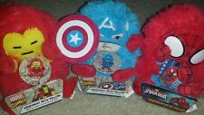 "NWT Set of 3 Marvel Hideaway Pillow Pets Mini Travel 5"" Stuffed Plush Iron Spide"