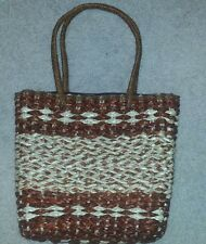 Red, Brown and Natural Toned Woven Zippered Handbag Simple But Elegant!!