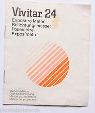 Vivitar 24 Exposure Meter Instruction Manual Book - Multilingual - USED B14