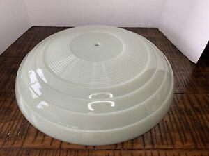 "Vintage 16"" Custard Uranium Glass Bowl Flush Mount Ceiling Fixture Shade"