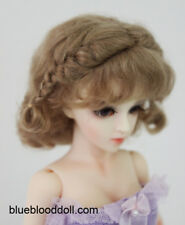 "1/6 or 1/4 bjd 6-7"" real mohair doll wig light brown curly braid dollfie yosd"
