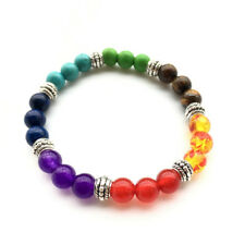 Amethyst Lava Rock Stone Chakra Crystal Reiki 7 Gemstone Bead Bracelet Bangle