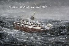 "Freighter ""Arthur M. Anderson 11/10/75"" follows EFitzgerald, LakeSuperiorStorm"