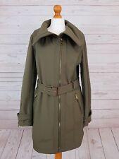 Miss Sixty Women's Green Khaki Zip Up Thigh Length Tie Waist Coat Jacket Size L