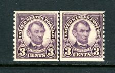 US 600, 1924 3c LINCOLN, LINE PAIR, NICELY CENTERED, MNH   (US203)