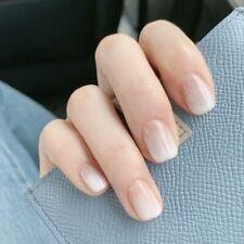 Acrylic Press On Nails White Gradient Square Head Designed Manicure False Decors