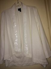 Dennis Basso Ponte Knit Drape Front Cardigan with Sequin Trim Ivory Size S
