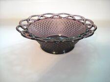Imperial Glass Ohio Laced Edge Burgundy Purple Round Bowl Pristine Condition