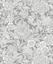 CROWN GREY METALLIC LEAF WILD HEDGEROW FLOWERS FEATURE DESIGNER WALLPAPER M1188