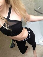 Victorias Secret VSX Mesh High Neck Black Sports Bra Crop Gym Fitness XS 4 6