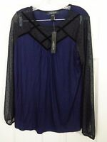 August Silk Women's Knit Top Blue Black Long Sleeve Size Large NWT