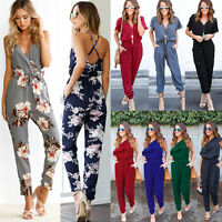 Womens Sleeveless V-Neck Print Jumpsuit Clubwear Playsuit Party Trousers Rompers