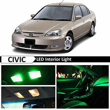 Green Interior LED Light Package Kit 2001-2005 Honda Civic Sedan Coupe