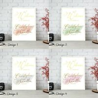 Personalised Wedding Welcome Sign Board Chart Gold Text Theme | A1 A2 A3