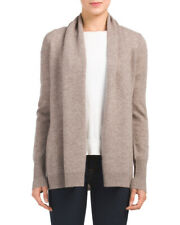 Tahari PURE LUXE Cashmere Cardigan Taupe Tan Shawl Open Front L; NWT$129 SALE