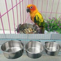 Stainless Steel Pet Hang Bowl Feeding Cage Cup Bird Parrot Food Water Vogue lskn
