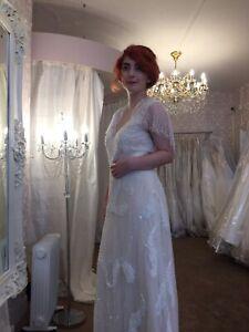 Art Deco Beaded Embellished Wedding Dress Bridal Blush Cream Vintage Size 12