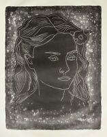 Fritz Kronenberg (1901-1960) signierte Lithographie, Mädchen mit Blume im Haar