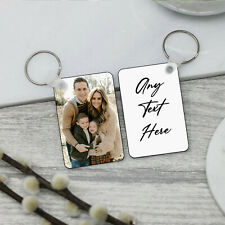 More details for personalised double side mdf keyring printed any photo text image name gift set