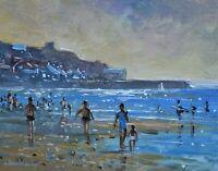 Richard Blowey Original Oil Painting - Beach Scene At Sennen Cove Cornwall