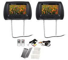 Pair Rockville Rhp7-Bk 7� Black Tft-Lcd Car Headrest Tv Monitors w/ Speakers+Ir