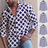 Mens Long Sleeve Retro Polka Dot Shirt Button Down Shirt Dot Printed Blouse Tops
