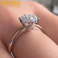 1ct Engagement Daisy Flower CZ Band Women 925 Silver Wedding Party Ring Size 4-9