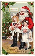 Santa Claus with children Vintage Christmas Embossed Postcard Santa Rosa CA Napa