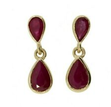 9ct Yellow Gold 1.60ct Ruby Pear Drop/Dangle Earrings