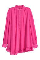 H&M STUDIO SILK Flounced Cerise Pink Wide Tunic Frill Blouse Dress UK 10 EU 36