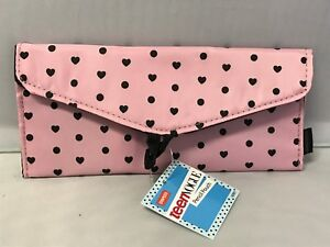Staples Teen Vogue Pencil Pouch W/Snap Closure ~ Pink W/ Brown Hearts & Dots