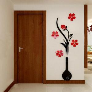 3D Mirror Wall Sticker Vas Flower Tree Decal DIY Removable Art Mural Home Room