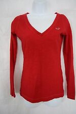 Hollister Red V Neck Long Sleeve Top T-Shirt Size S Juniors Small