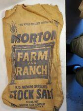 New listing Rare Vintage Morton Chicago, Il Farm & Ranch 50 Lb Burlap Stock Salt Bag Sack