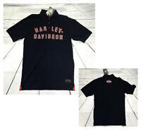 T-shirt polo uomo cotone Harley Davidson nera originale scritta logo 99031-15VM