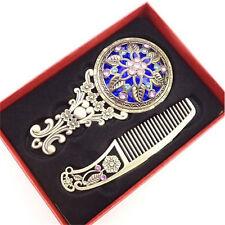 2PCS Bronze Handheld Mirrors Hollow Cosmetic Compact Mirror Comb Set Gift Box H&
