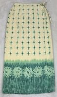 Tommy Bahama 100% Silk Long Wrap Skirt Yellow Green Border Print Washable Size 8