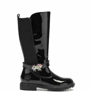 LELLI KELLY MARYLIN GIRLS JUNIOR YOUTH BLACK PATENT LEATHER CHILDRENS LONG BOOT
