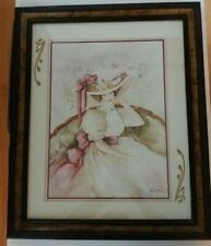 """Home Interiors Victorian Lady in Chair Vintage Reimel Abrams 19"""" X 23"""""""