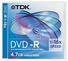 10Pk TDK WRITEABLE DVD-R Disc/Disks Archival Quality Slim Jewel Case 4.7Gb 10 x