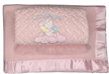 New listing 2 Bright Future Baby Blankets Morgan Pink Acrylic Thermal Waffle Weave Satin