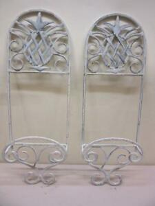 Set of 2 Pineapple White Rustic Wall Hanging Plate or Book Holders Display Rack