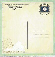 Sc - Virginia Postcard Scrapbooking Paper - 1 sheet - Vintage 36214