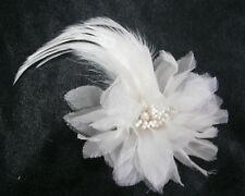 KLEINFELD WEDDING FASCINATOR HEAD HAIR PIECE SILK FLOWER PEARLS FEATHERS CLIP
