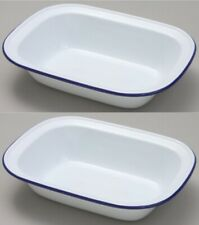 2 Falcon 20cm Oblong Enamel Pie Dish Non Stick Oven Baking Dish White Blue Rim