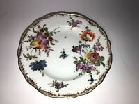Antique 19th c. Meissen Floral Plate w/ Blue Crossed Swords 6in #41 See pics